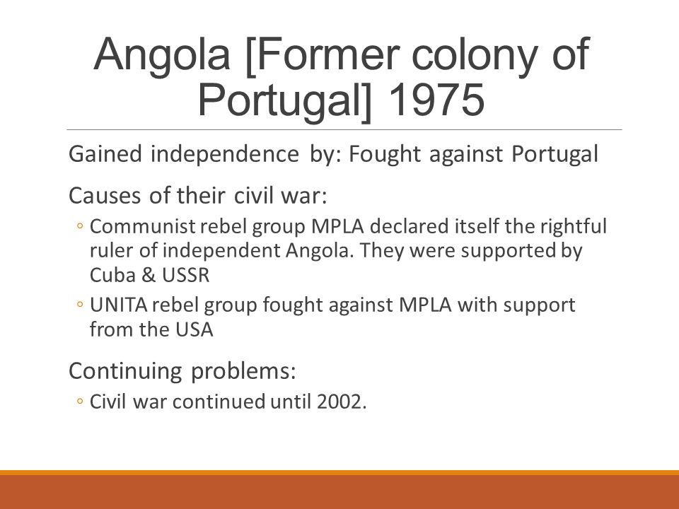 Angola [Former colony of Portugal] 1975